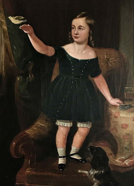 Large mid 19th century oil of a child releasing a bird: an allegory of freedom