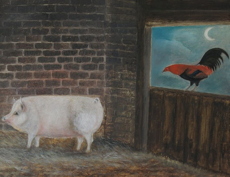 19th century folk art  naive school.  A pig and a cockerel in a barn