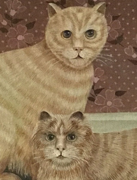 20h century folk art  naive school.  Portrait of a pair of cats