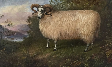 Naive folk art oil on board of a ram