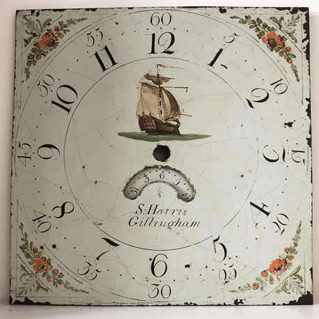 Folk art hand painted clock face.  S Harris Gillingham