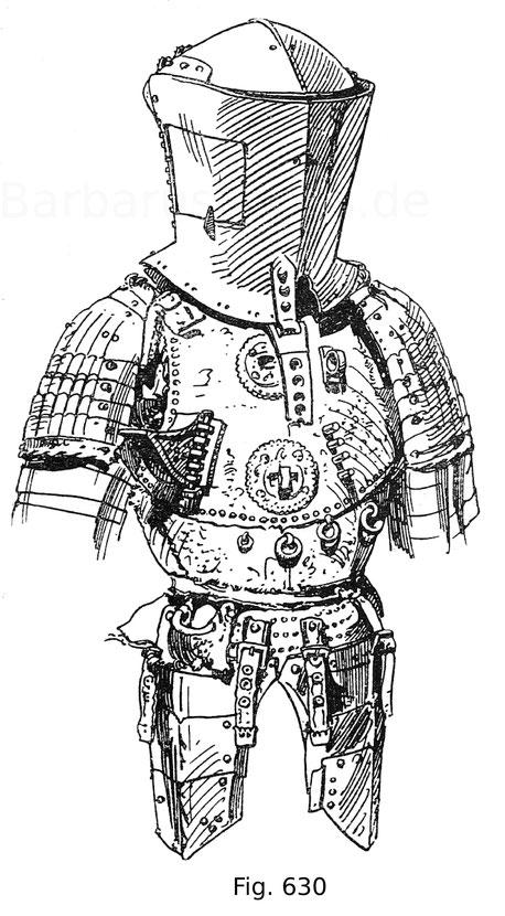 Fig. 630. Italienisches Stechzeug, sogenanntes Welsches Zeug, aus der Harnischkammer Karls V. Das Bruststück ist mit genuesischem Brokat überzogen, das Zeug, sonst blank, teilweise vergoldet. Arbeit des 15. Jahrhunderts, das Armzeug gehört dem 16. Jahrhun