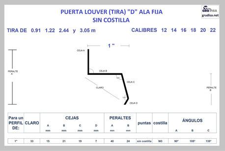 "PUERTA LOUVER D (TIRA ALA FIJA) PARA ARMAR CON PERFIL DE 1"""