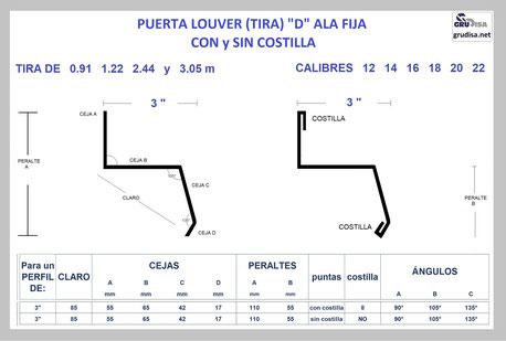 "PUERTA LOUVER D (TIRA ALA FIJA) PARA ARMAR CON PERFIL DE 3"""