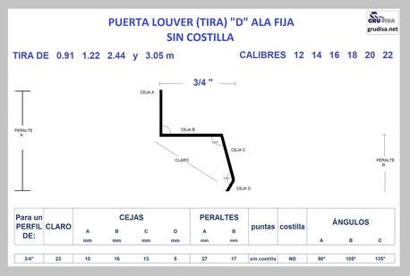 "PUERTA LOUVER D (TIRA ALA FIJA) PARA ARMAR CON PERFIL DE 3/4"""