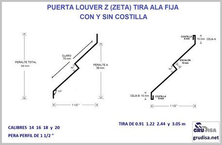 """PUERTA LOUVER (TIRA) Z """"ZETA"""" PARA PERFIL DE 1 1/2"""" LARGO DE 0.91  1.222  2.44  y  3.05 m CALIBRES 14  16  18  y  20"""