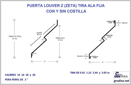 """TIRA PARA ARMAR PUERTA LOUVER EN V INVERTIDA PARA PERFIL DE 2"""""""
