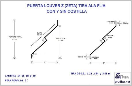 """PUERTA LOUVER (TIRA) Z """"ZETA"""" PARA PERFIL DE 2"""" LARGO DE 0.91  1.222  2.44  y  3.05 m CALIBRES 14  16  18  y  20"""