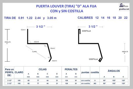 "PUERTA LOUVER D (TIRA ALA FIJA) PARA ARMAR CON PERFIL DE 3 1/2"""