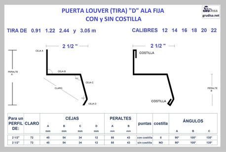"PUERTA LOUVER D (TIRA ALA FIJA) PARA ARMAR CON PERFIL DE 2 1/2"""