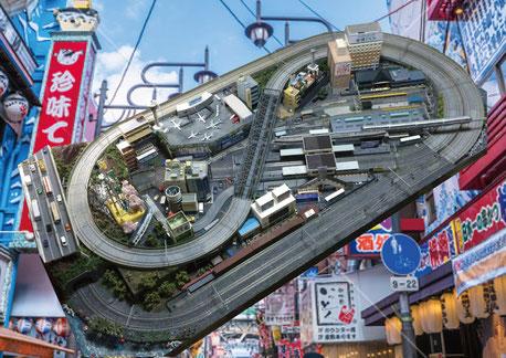 鉄道模型「関西イメージのジオラマ」