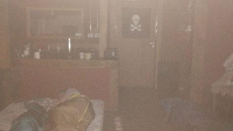 Le matelas est dans la grande pièce du refuge San Martin