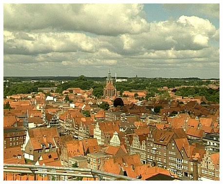Blick vom Wasserturm auf die Altstadt von Lüneburg