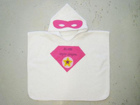 poncho de bain super héro rose fabriqué en france fait main