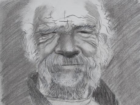 Kohlezeichnung, Portrait, alter Mann, gezeichnet, Zeichnung
