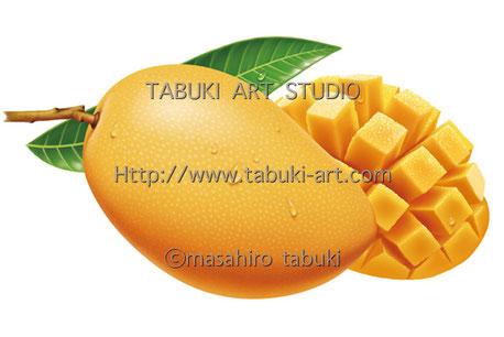 RD1275 マンゴー イラスト mango トロピカルフルーツ 果物