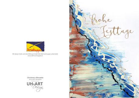Weihnachtskarte welche die Stiftung Kinderhilfe Sternschnuppe unterstützt.