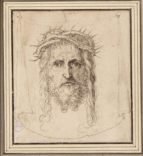 (9) Albrecht Dürer (attributed), The Vera Icon, c. 1513/1515 (?), pen drawing, 11.8 x 10.6 cm, inv. no. 3132, Albertina / Vienna