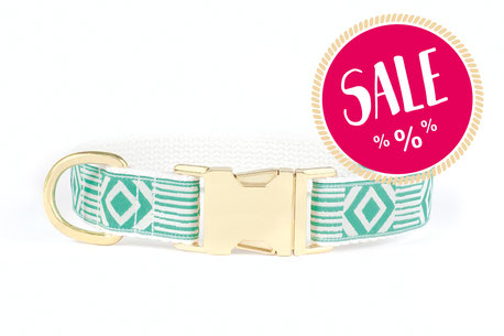Hundestrand Hundehalsband grün weiß gold Out Of My Box Teal and Cream See Scout Sleep