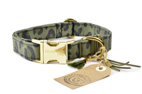 Hundestrand Hundehalsband Halsband Khaki Frimousse Dog Leolook Leopardenmuster
