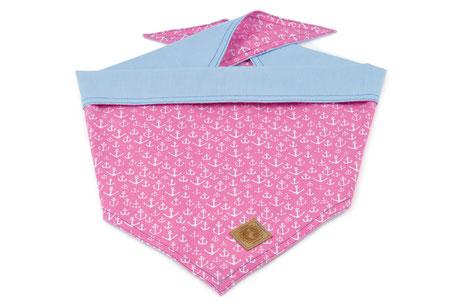 Hundestrand Hundehalstuch Halstuch rosa Anker uni hellblau