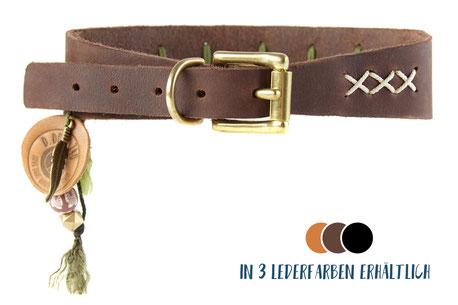Hundestrand Hundehalsband Halsband Leder bunt Emelie Windhund D.DOGS 740