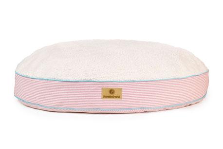 hundestrand Luxus Hundekissen rund rosa Streifen Plüsch Kuschel Kuschelkissen maritim Sylt