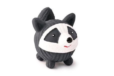 hundestrand HuggleHounds Ruff Tex Racoon Waschbär schwarz weiß Hundespielzeug Ball natürlich