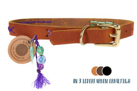 Hundestrand Hundehalsband Halsband Leder bunt Emelie Medium D.DOGS 740