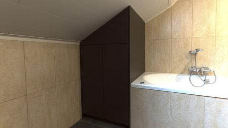 Kast achter het bad ingewerkt onder schuine plafond