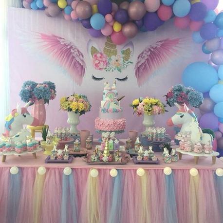 mesas de dulces de unicornio