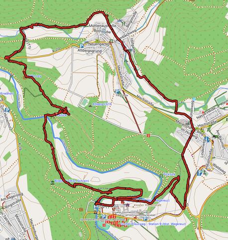 GPXTrack 10,5 km rund um Marienstatt