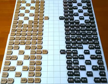 天子南面で見たときの摩訶大将棋。盤は平安京の条坊、手前中央の20マスが大内裏です。