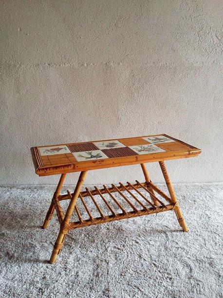 Table basse tiki rotin vintage