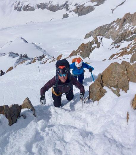 Aletschhorn, Südwestrippe, Skitour, Skihochtour, Blatten, Belalp, Oberaletsch, Zustieg Oberaletschhütte im Winter, Wallis