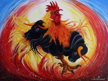 """""""Galarena"""" - Acrylique sur toile 100x75 - Le Coq/Taureau est un personnage courageux, énergique, mais sensible à la notion d'utilité."""