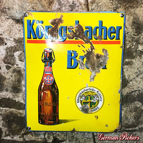 Königsbacher Bräu - Emailschild  Deutschland um 1920  Boos & Hahn Ortenberg-Baden, 45 x 55 cm