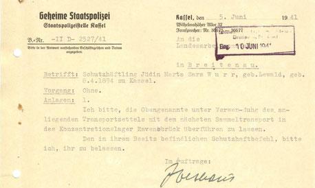 Gestapo ordnet den Transport in das Konzentrationslager Ravensbrück an.