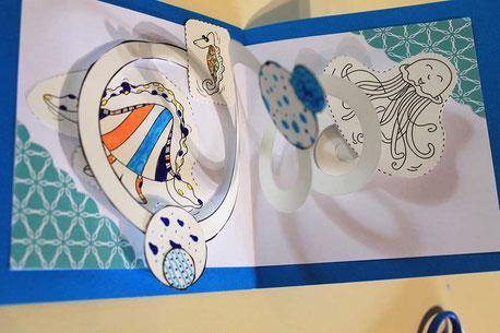 Carte Pop-Up spirale Faribole et Mistigri réalisée avec l'illustratrice Cloé Perrotin lors d'un atelier
