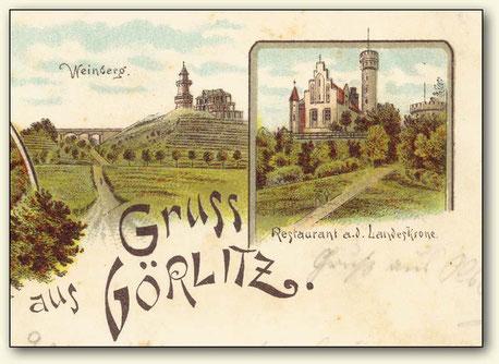 Teilansicht einer alten Postkarte aus Görlitz mit Weinberg von 1898 (Lausitzer Weinfreunde)