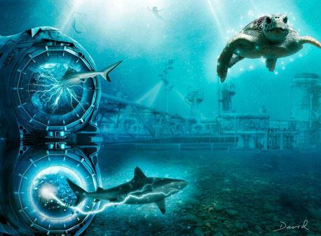Magnetklippen Meeresleuchten Composing Fotomontage