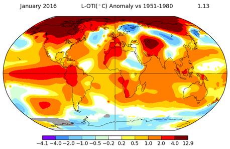Weltbild des Klimawandels. Dargestellt ist die Abweichung der Temperatur im Januar 2016 von der Durchschnittstemperatur im Januar zwischen 1951 - 1980. NASA.