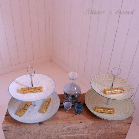 plateaux à dessert vaisselle vintage