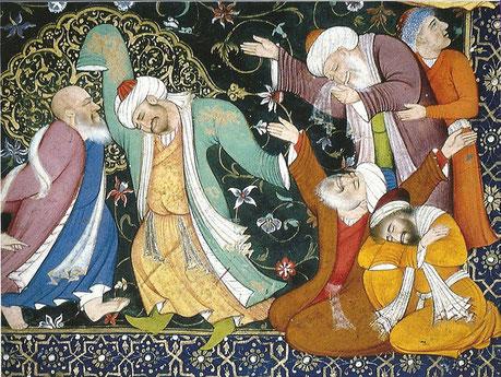 Soufis en extase, miniature moghol, Muhammad Nadir al-Samarquandi,XVIIème