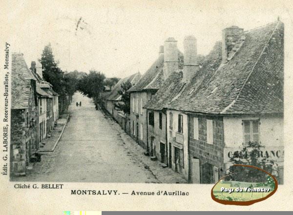 Avenue d'Aurillac à Montsalvy, auberge fleurie, puy de l'arbre