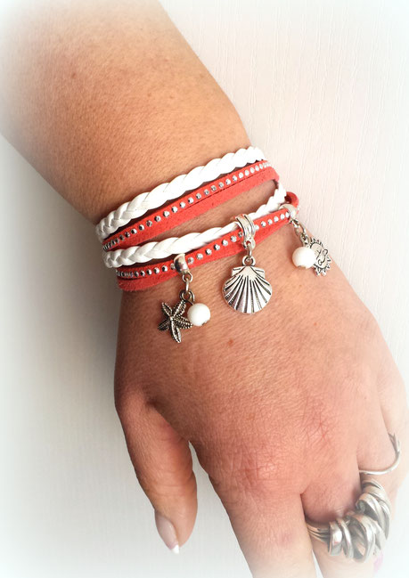 Bracelet manchette 2 tours PYLA corail, blanc et argenté vacances