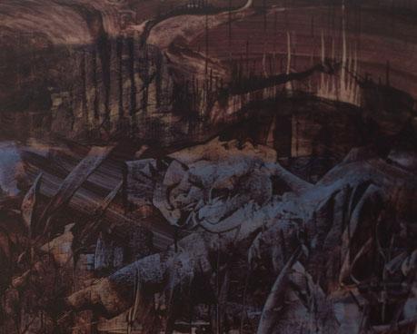 Durchblick, 2011, 100x100cm, Erde, Pigmente auf Leinwand