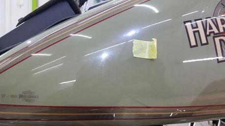 ハーレー・ソフテイルの傷 埼玉のバイク磨き専門店