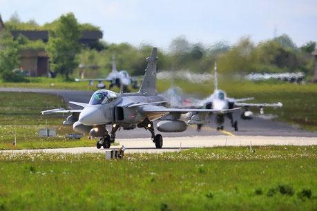"HunAF Saab JAS39 ""Gripen"" taxing"