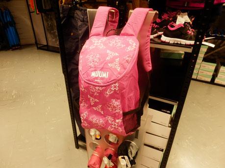 アスリートに愛されるHALTI(日本名ハルチ)社の携帯ムーミンバックパック(日本未上陸)折りたたみ傘くらい小さくなります、1階のLive&growで販売開始!